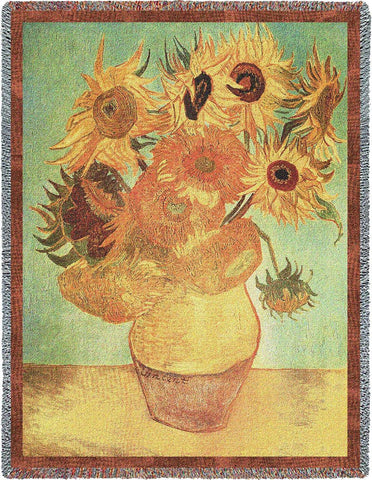 Van Gogh Sunflowers Tapestry Blanket