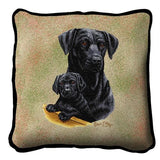 Labrador Retriever with Puppy Black Pillow