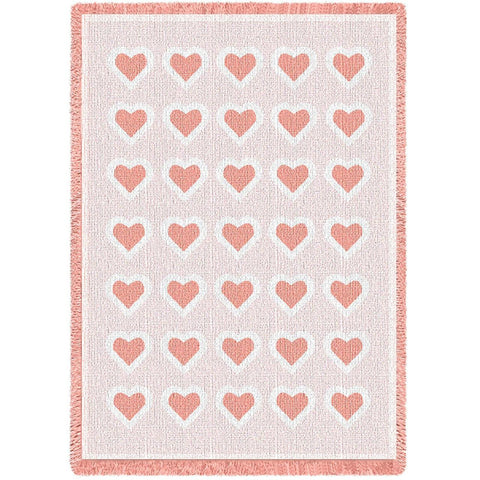 Basketweave Hearts Pink Natural Small Blanket
