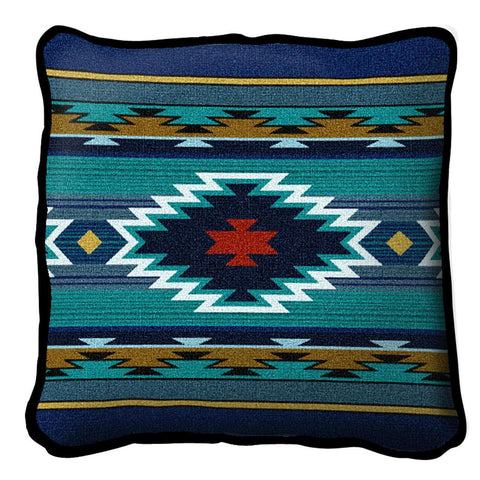 Southwest Geometric Cornflower Pillow