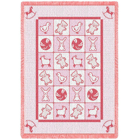 Baby Icons Pink Mini Blanket