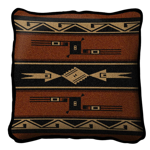 Southwest Geometric Black and Russet Pillow