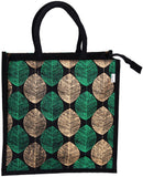 'POKA' Gold & Green Leaf Jute / Hessian eco friendly Reusable Shopping Grocery Tote Bag