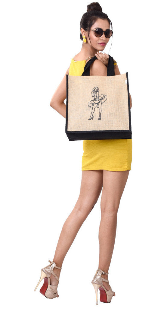 'QESE' Jute/Hessian eco friendly Reusable Shopping Grocery Tote Bag