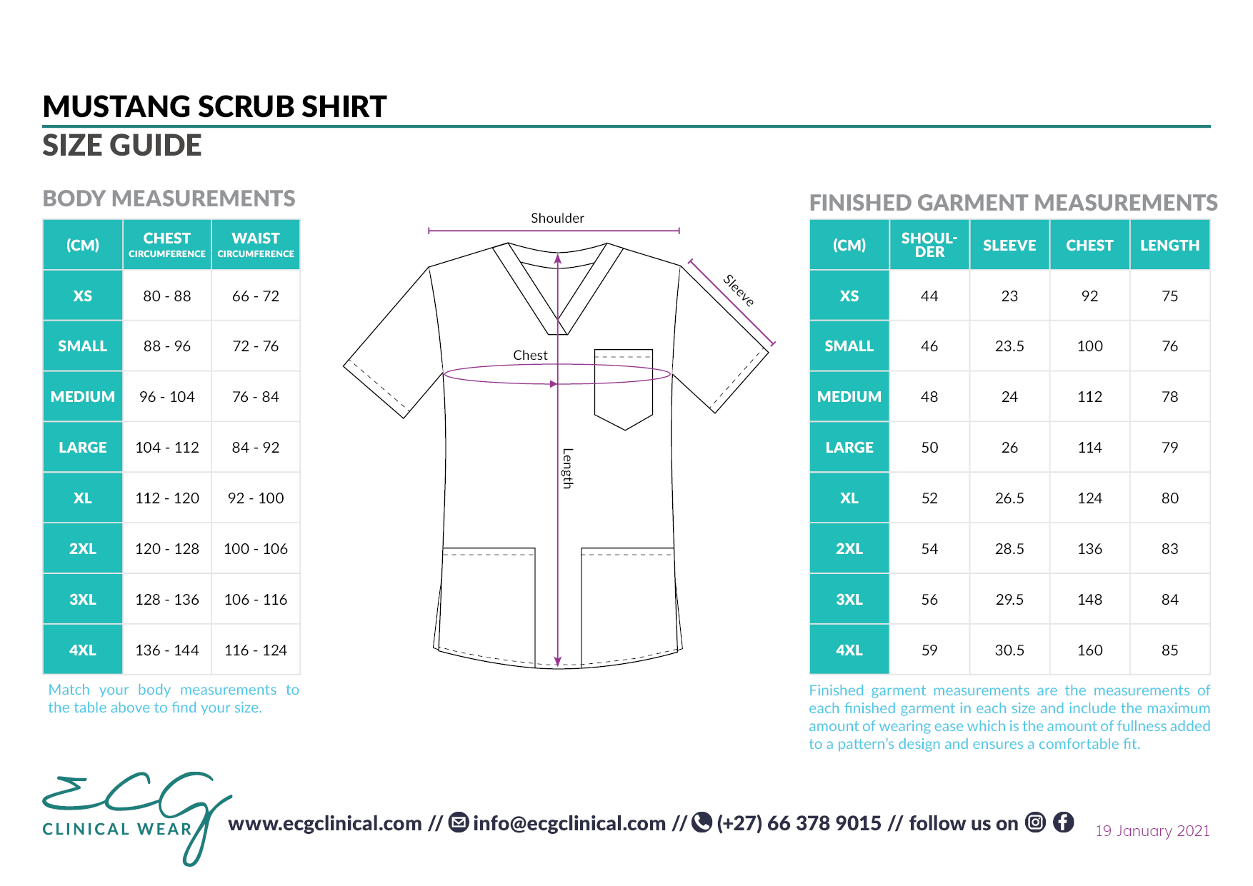 ECG Clinical Wear Mustang Scrub Shirt Size and Fit Guide