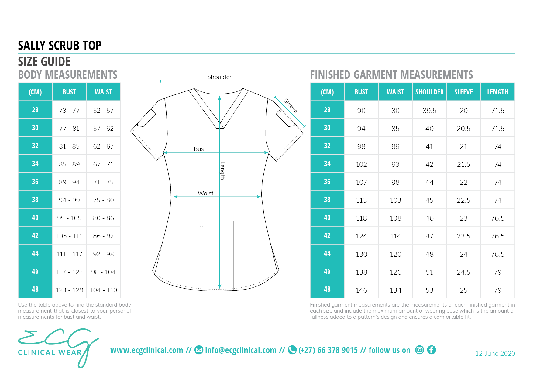 ECG Clinical Wear Sally Scrub Top Size and Fit Guide