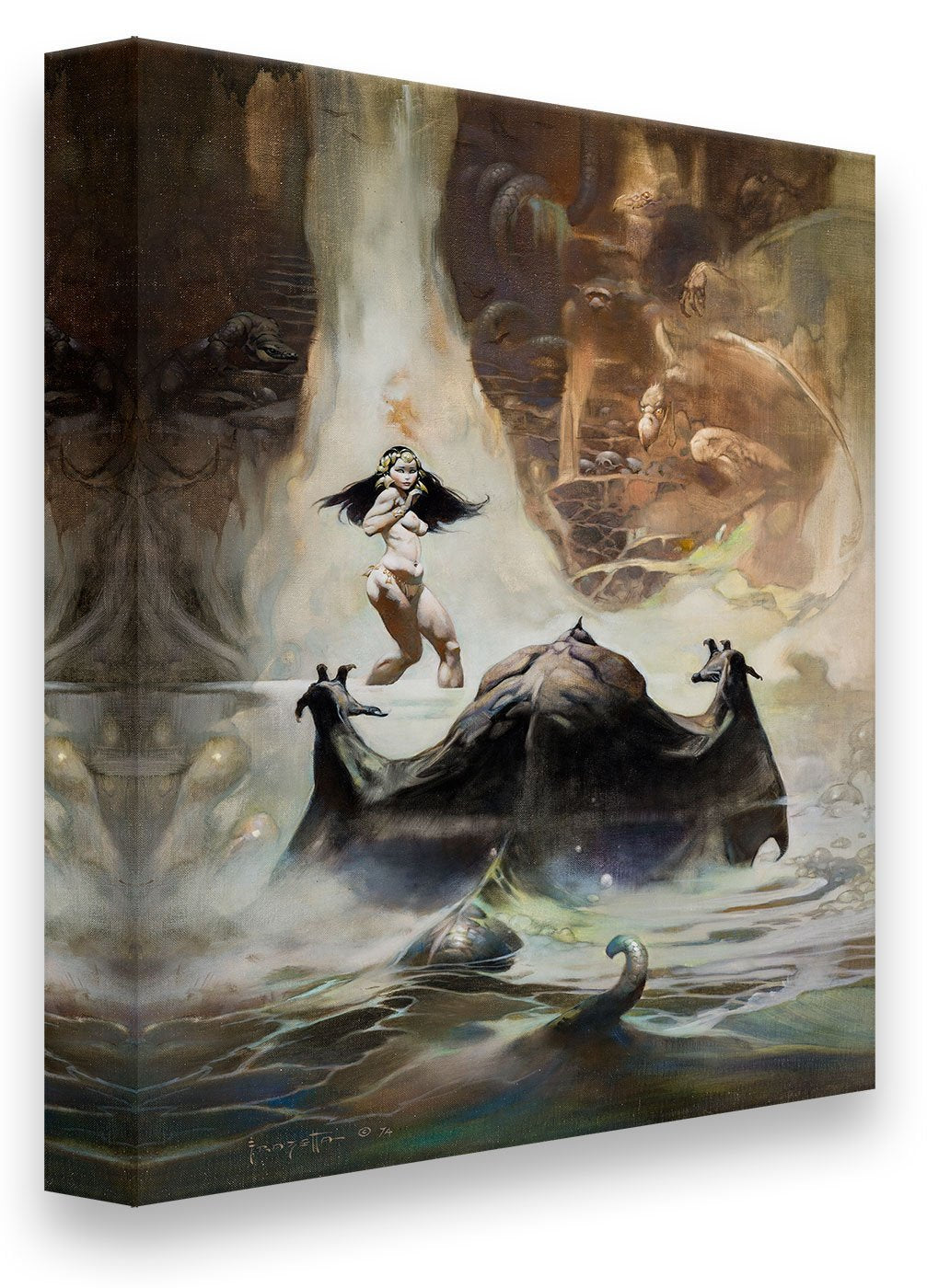 Frazetta Girls, LLC  Art Print Canvas / Stretched on wooden bar / 16x20 At The Earth's Core Print
