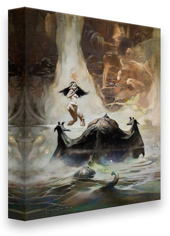 Frazetta Girls, LLC  Art Print Fine art print / Stretched on wooden bar / 18x24 At The Earth's Core Print