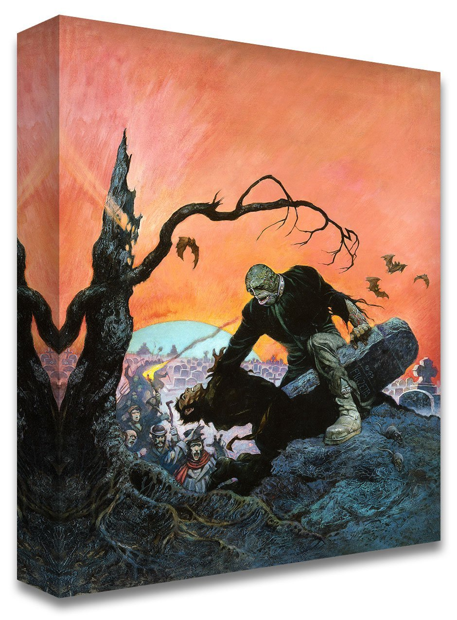 Frazetta Girls, LLC  Art Print Canvas / Stretched on wooden bar / 16x20 Beyond the Grave Print