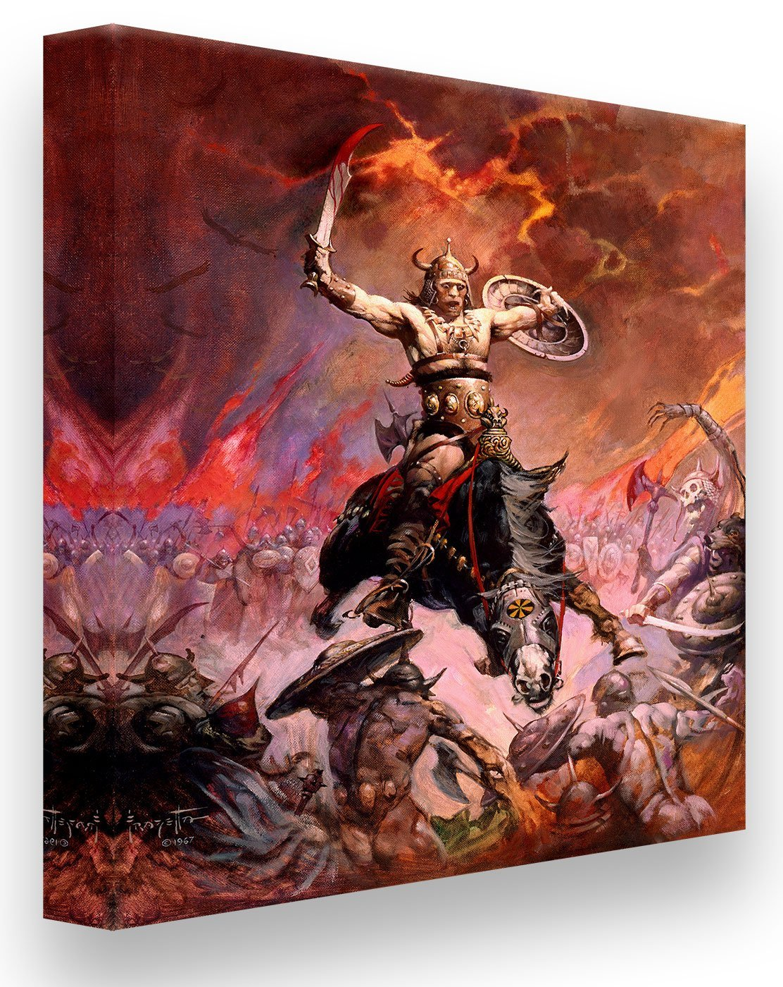 Frazetta Girls, LLC  Art Print Canvas / Stretched on wooden bar / 16x20 Conan The Conqueror Print