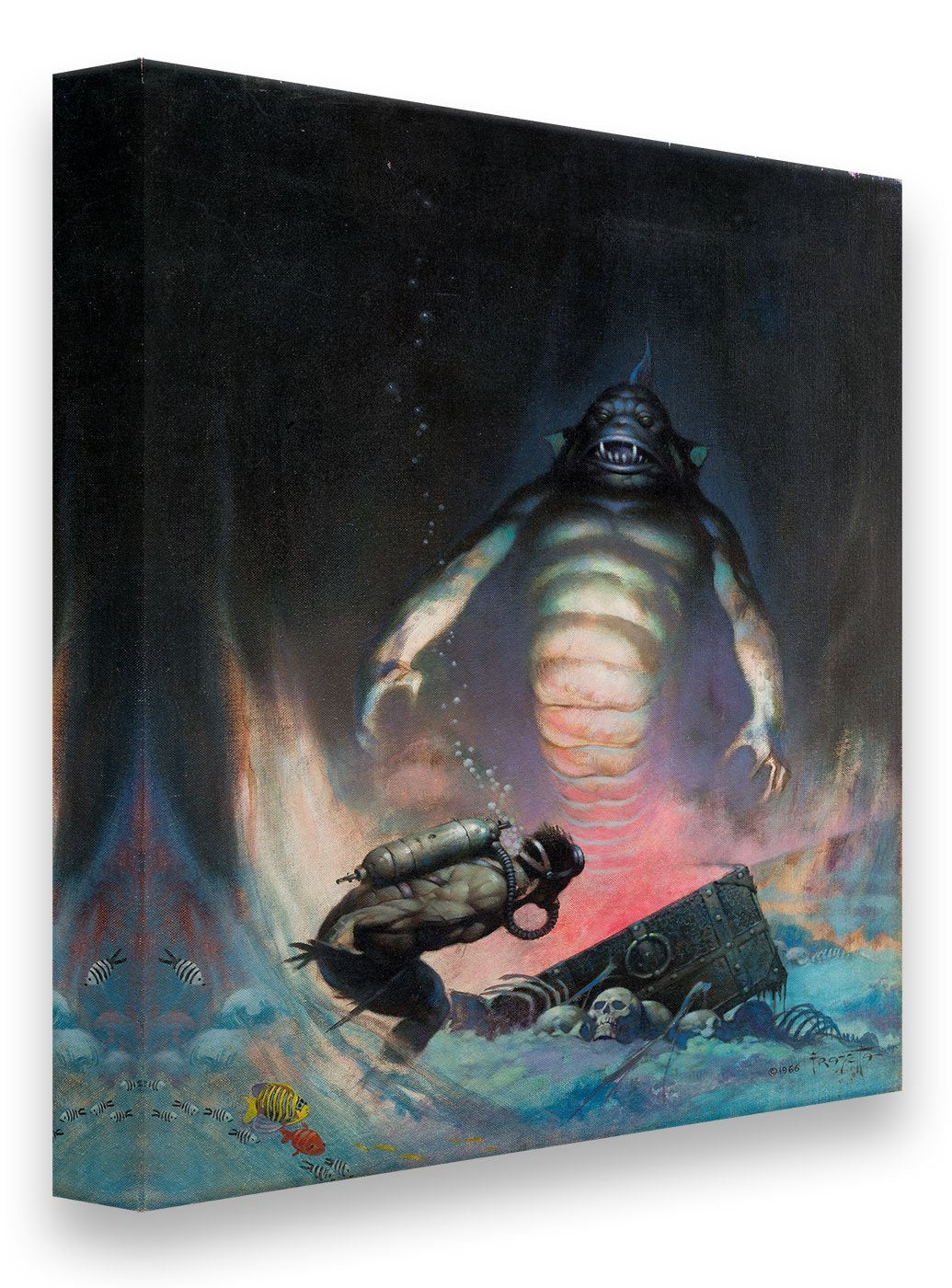 Frazetta Girls, LLC  Art Print Canvas / Stretched on wooden bar / 18x24 Sea Monster Print