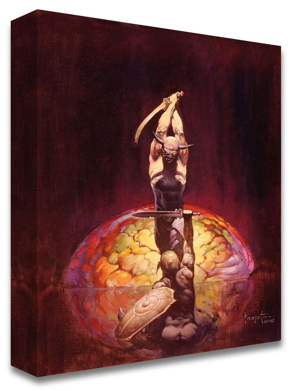 Frazetta Girls, LLC  Art Print Canvas / Stretched on wooden bar / 18x24 The Brain Print