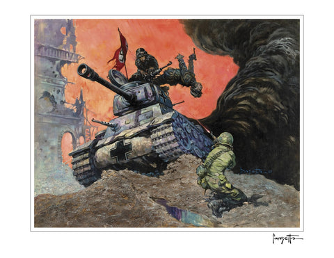 Frazetta Girls, LLC Art Print Fine art print / Stretched on wooden bar / 18x24 Blazing Combat #1 Print