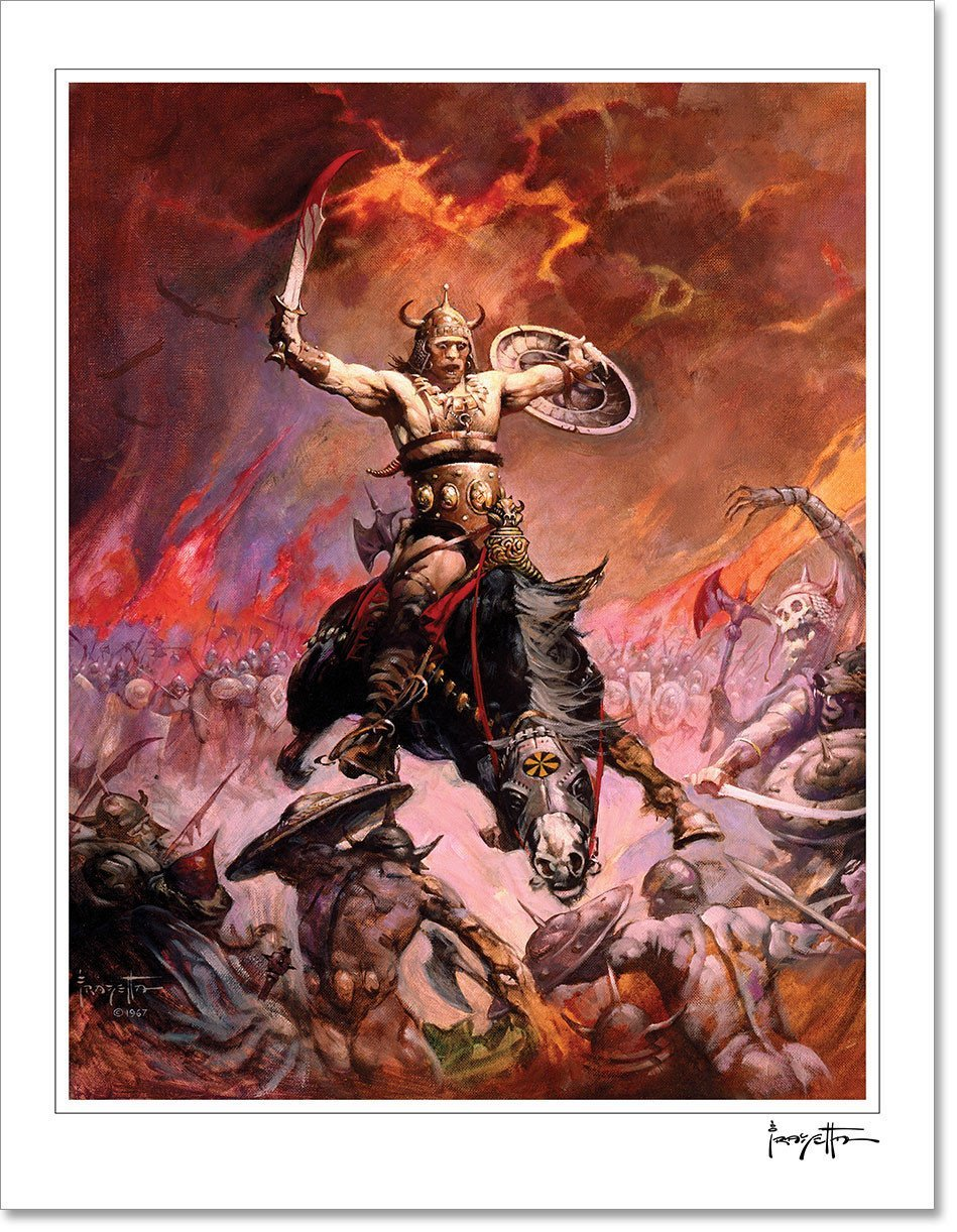 Frazetta Girls, LLC  Art Print Fine art print / Stretched on wooden bar / 18x24 Conan The Conqueror Print