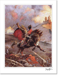 Frazetta Girls, LLC  Art Print Fine art print / Stretched on wooden bar / 18x24 Mad King Print