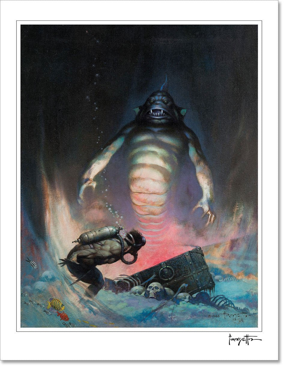 Frazetta Girls, LLC  Art Print Fine art print / Stretched on wooden bar / 18x24 Sea Monster Print