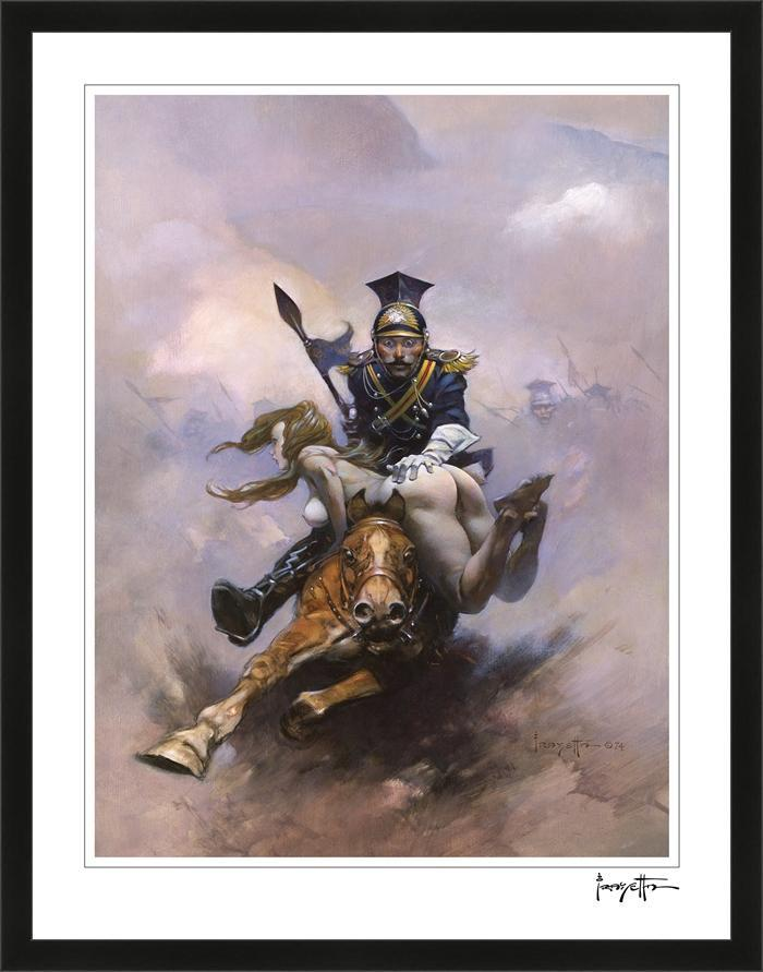 Frazetta Girls, LLC Art Print Framed print / Semi-matte photo print / 16x20 Flashman at The Charge Print
