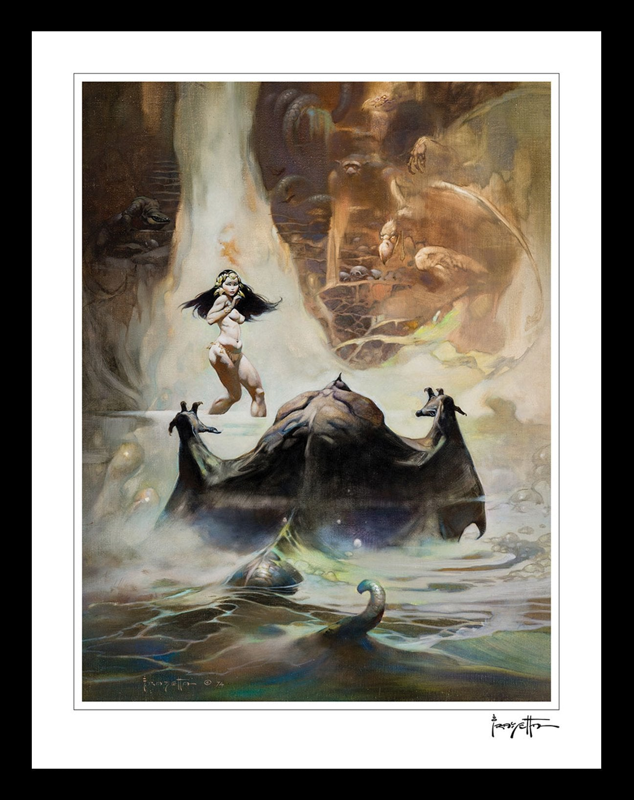 Frazetta Girls, LLC  Art Print Framed print / Stretched on wooden bar / 16x20 At The Earth's Core Print