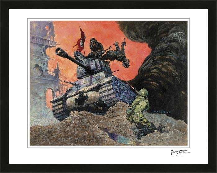 Frazetta Girls, LLC Art Print Framed print / Stretched on wooden bar / 18x24 Blazing Combat #1 Print