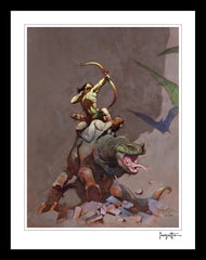 Frazetta Girls, LLC  Art Print Framed print / Stretched on wooden bar / 18x24 Jongor Fights Back Print