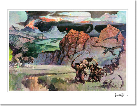 Frazetta Girls, LLC  Fine art print / Stretched on wooden bar / 20x30 Young World Print