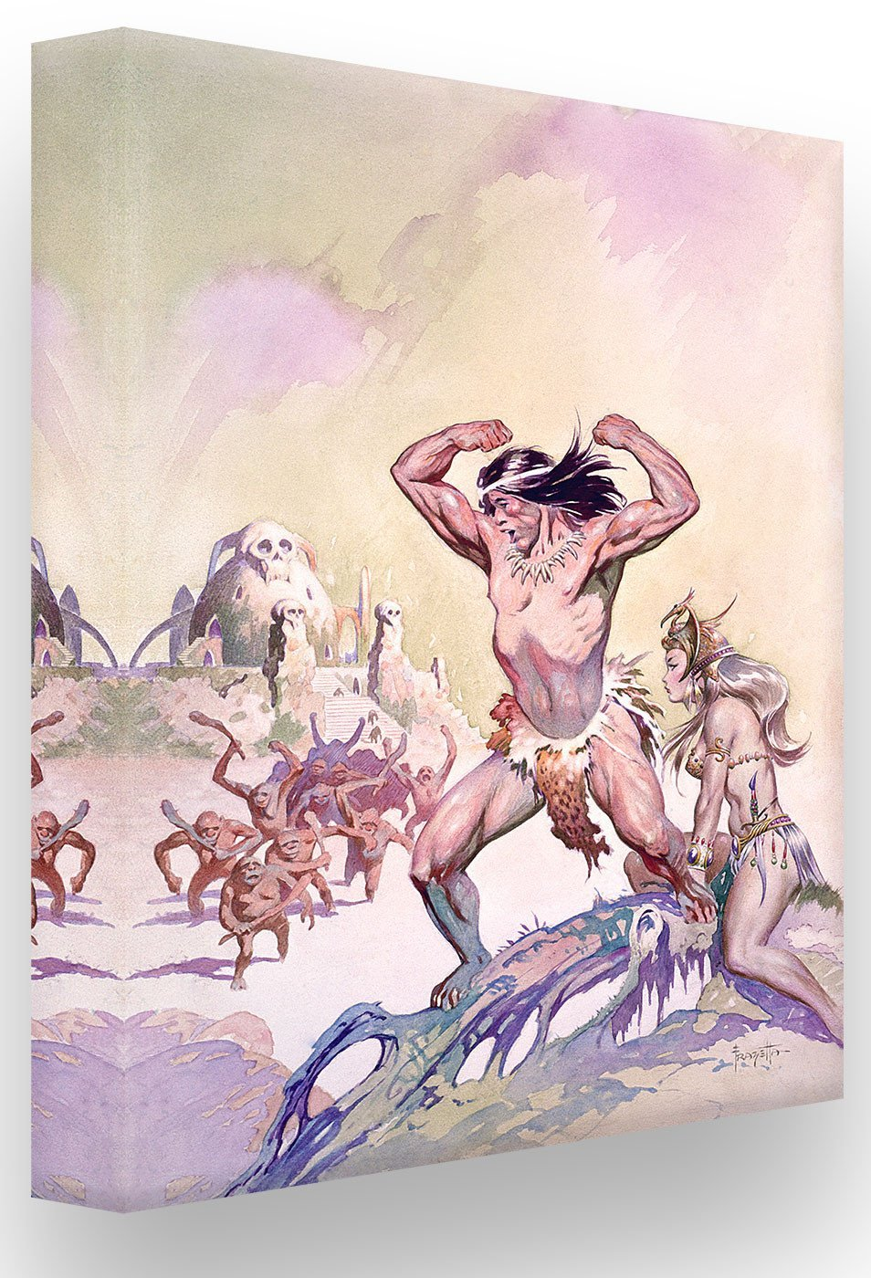 FrazettaGirls Art Print 18 x 24 - Canvas Stretched on Wooden Bars Tarzan #1 Print