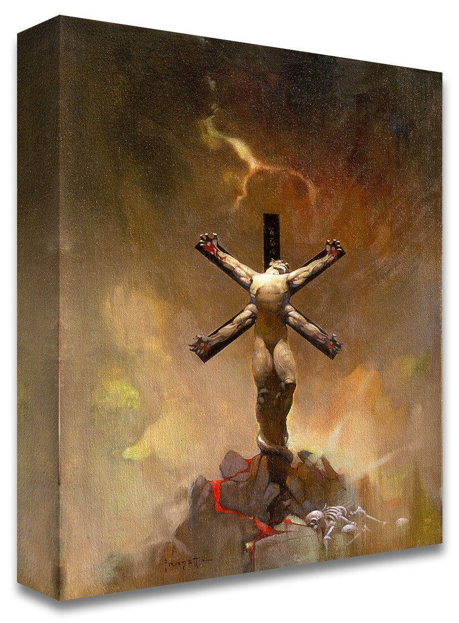 FrazettaGirls Art Print Canvas / Stretched on wooden bar / 16x20 Alien Crucifixion Print