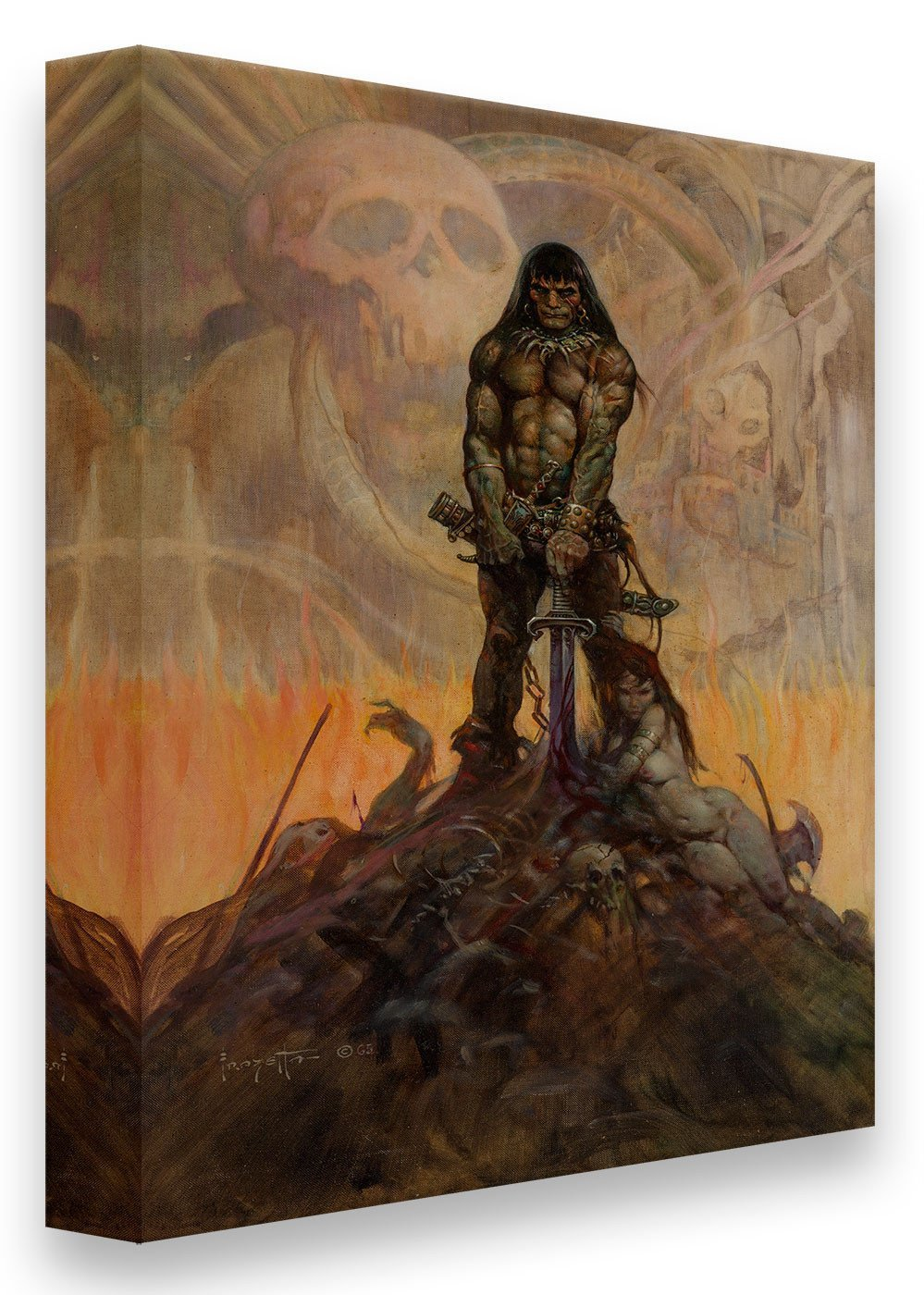 FrazettaGirls Art Print Canvas / Stretched on wooden bar / 16x20 Conan The Barbarian Print