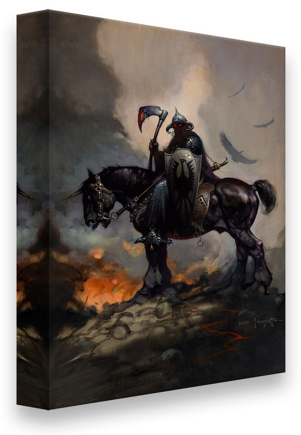 FrazettaGirls Art Print Canvas / Stretched on wooden bar / 16x20 Death Dealer I Print