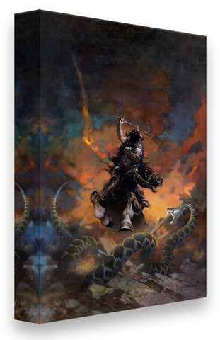 FrazettaGirls Art Print Fine art print / Stretched on wooden bar / 16x20 Death Dealer VI Print