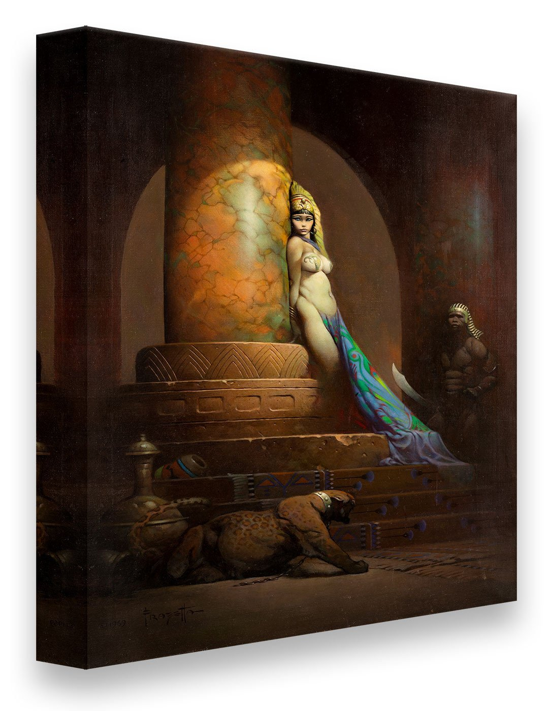 FrazettaGirls Art Print Canvas / Stretched on wooden bar / 16x20 Egyptian Queen Print