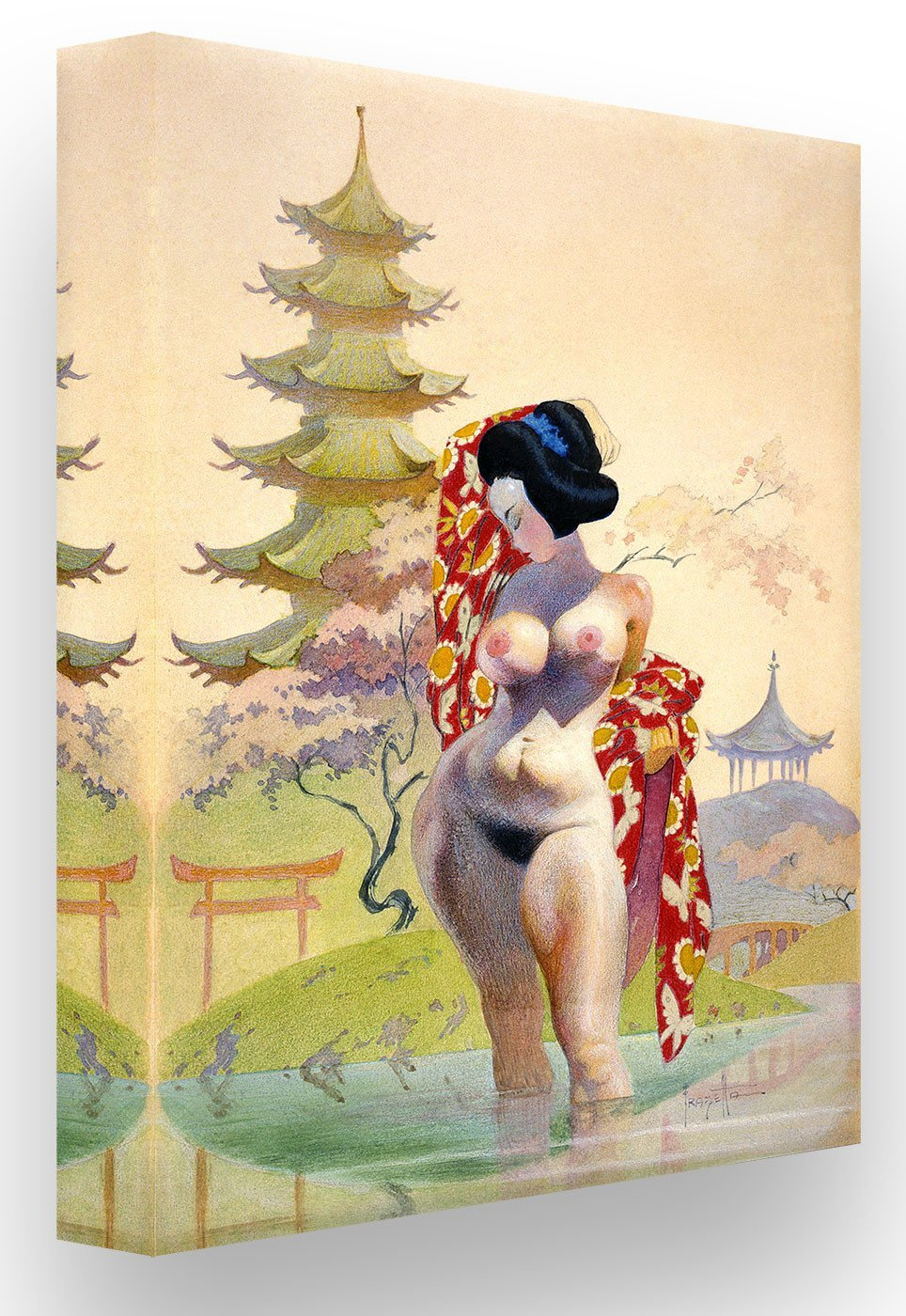 FrazettaGirls Art Print Canvas / Stretched on wooden bar / 16x20 Geisha Print