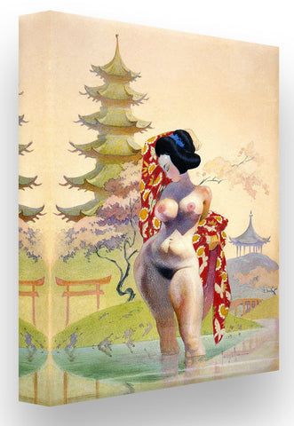 FrazettaGirls Art Print Fine art print / Stretched on wooden bar / 18x24 Geisha Print