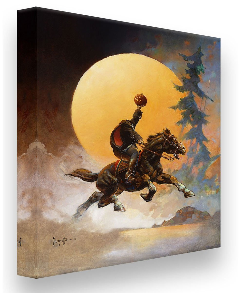 FrazettaGirls Art Print Canvas / Stretched on wooden bar / 16x20 Headless Horseman Print