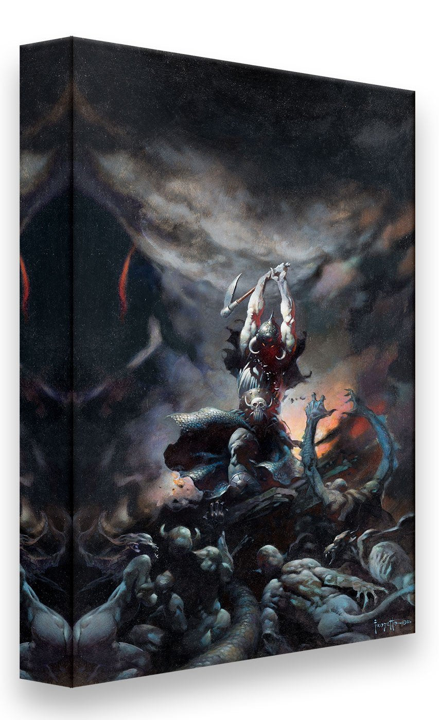 FrazettaGirls Art Print Canvas / Stretched on wooden bar / 18x24 Death Dealer II Print