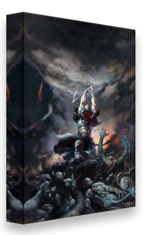 FrazettaGirls Art Print Fine art print / Stretched on wooden bar / 18x24 Death Dealer II Print