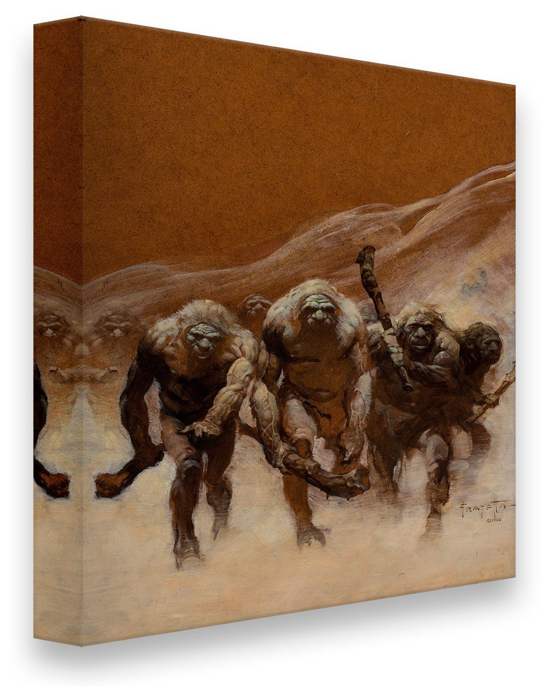 FrazettaGirls Art Print Canvas / Stretched on wooden bar / 18x24 Neanderthal Print