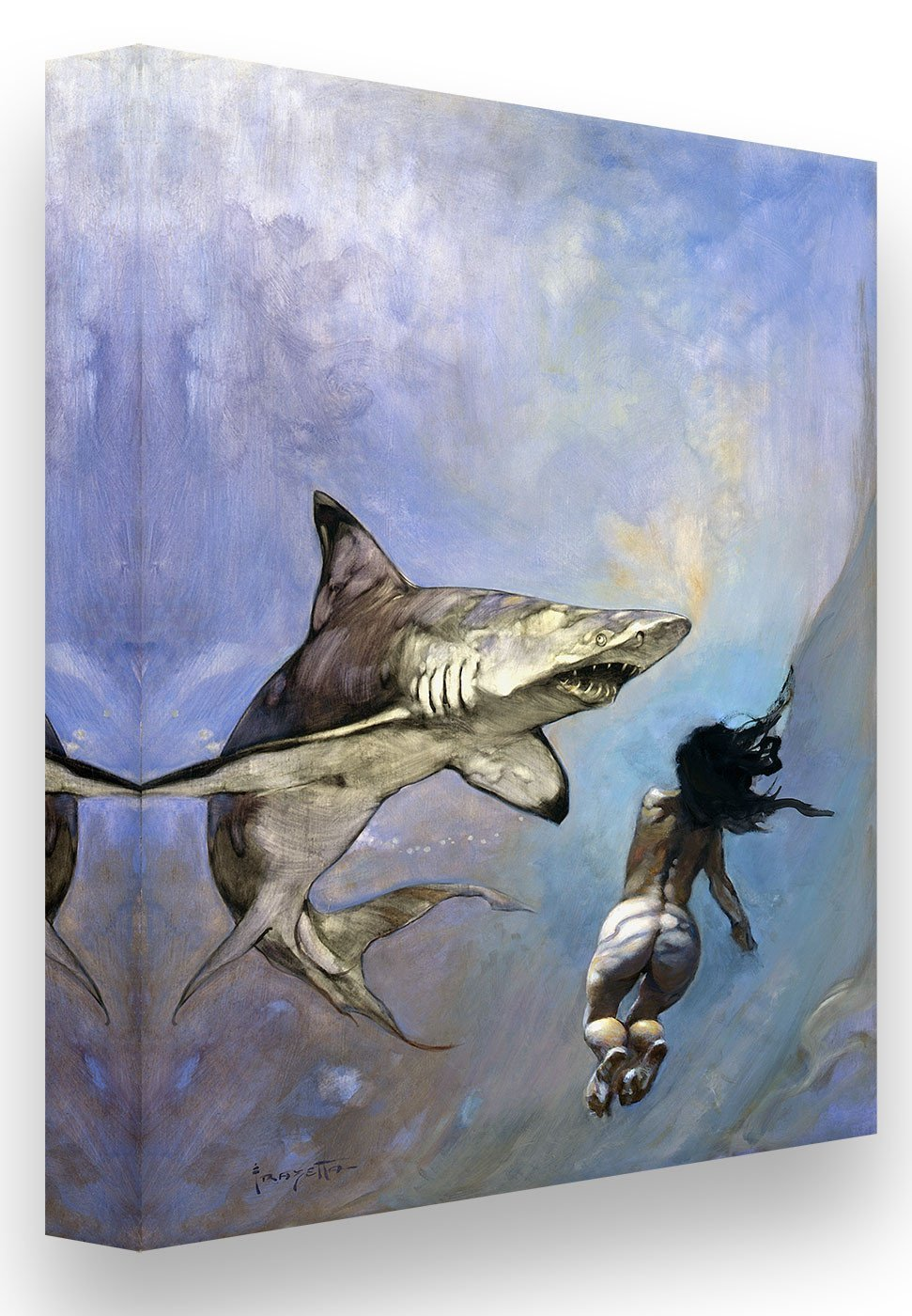 FrazettaGirls Art Print Canvas / Stretched on wooden bar / 18x24 Requiem for a Shark Print