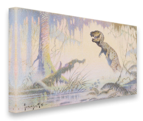 FrazettaGirls Art Print Fine art print / Stretched on wooden bar / 18x24 T-Rex Colored Pencil Print