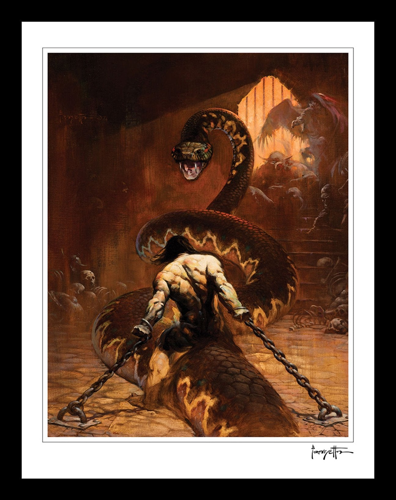 FrazettaGirls Art Print Conan Chained Print