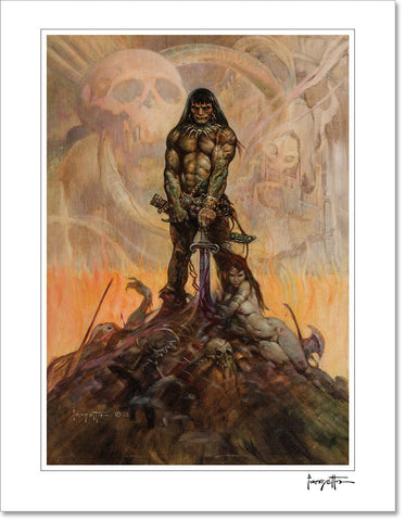 FrazettaGirls Art Print Fine art print / Stretched on wooden bar / 16x20 Conan The Barbarian Print