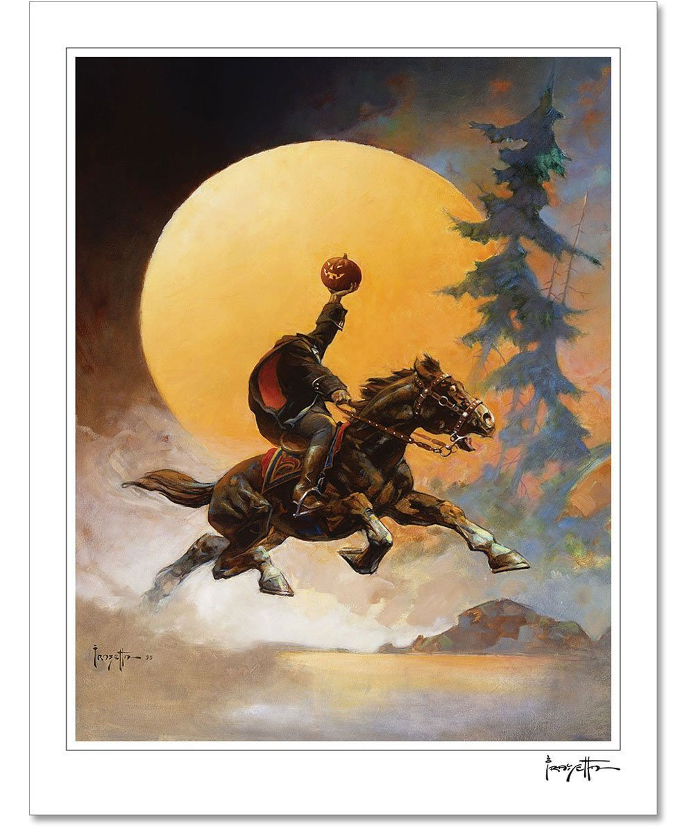 FrazettaGirls Art Print Fine art print / Stretched on wooden bar / 16x20 Headless Horseman Print