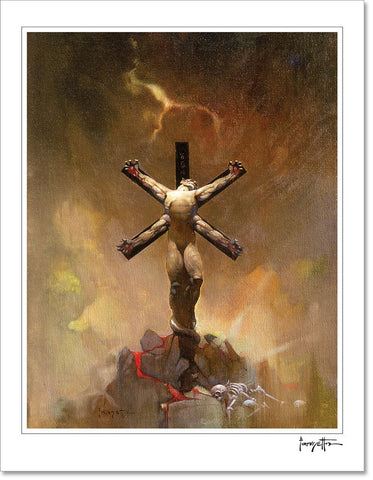 FrazettaGirls Art Print Fine art print / Stretched on wooden bar / 18x24 Alien Crucifixion Print