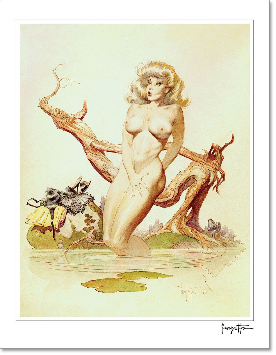 FrazettaGirls Art Print Fine art print / Stretched on wooden bar / 18x24 Girl Bathing Print