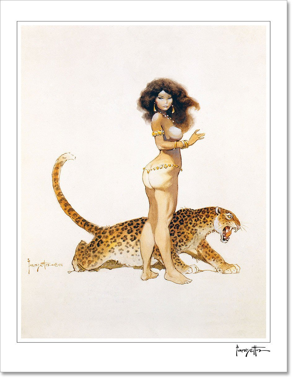 FrazettaGirls Art Print Fine art print / Stretched on wooden bar / 18x24 Girl with Leopard Print