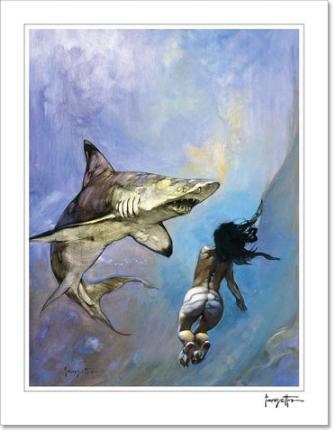 FrazettaGirls Art Print Fine art print / Stretched on wooden bar / 18x24 Requiem for a Shark Print