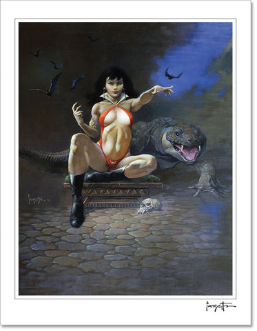 FrazettaGirls Art Print Fine art print / Stretched on wooden bar / 18x24 Vampirella Print