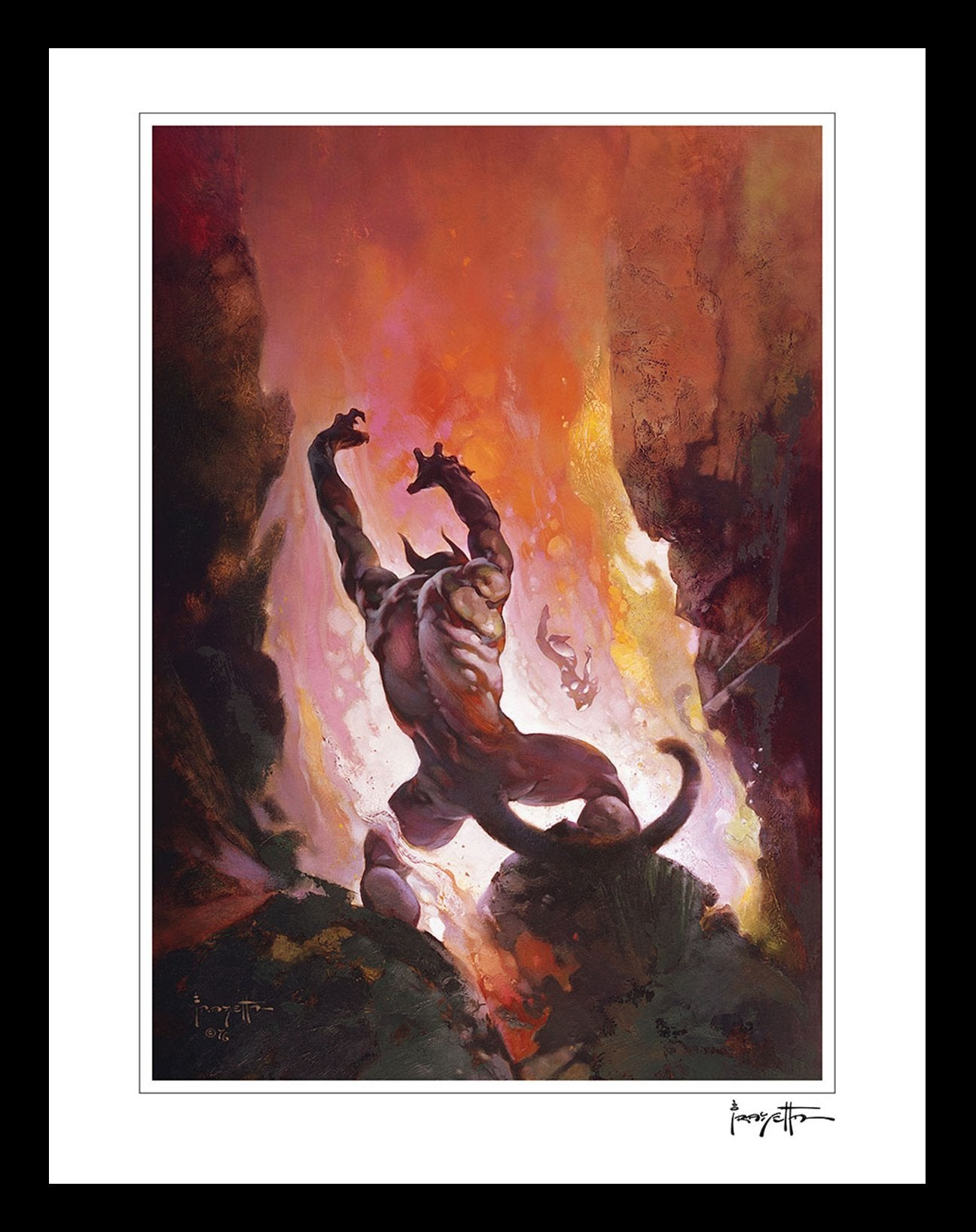 FrazettaGirls Art Print Framed print / Semi-matte photo print / 16x20 Fire Demon Print