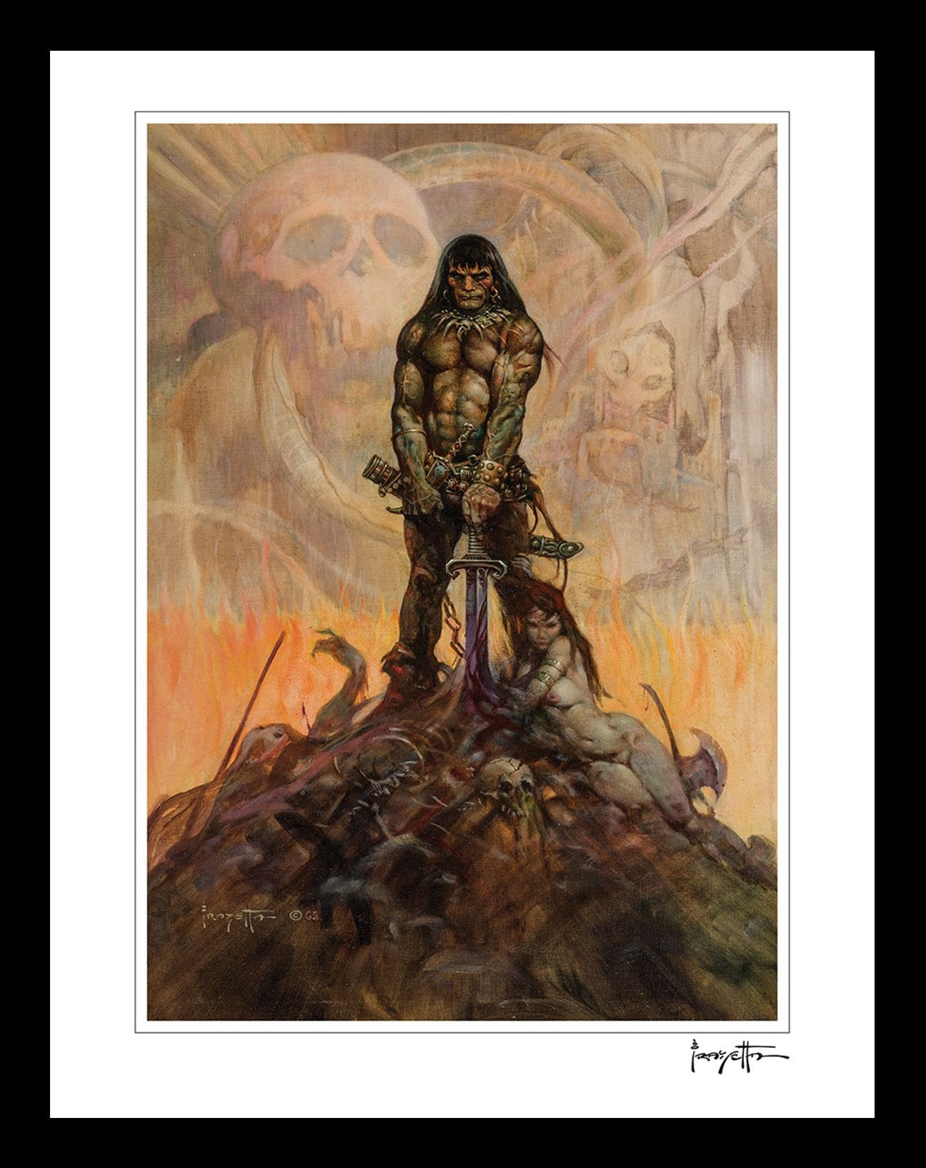 FrazettaGirls Art Print Framed print / Stretched on wooden bar / 16x20 Conan The Barbarian Print