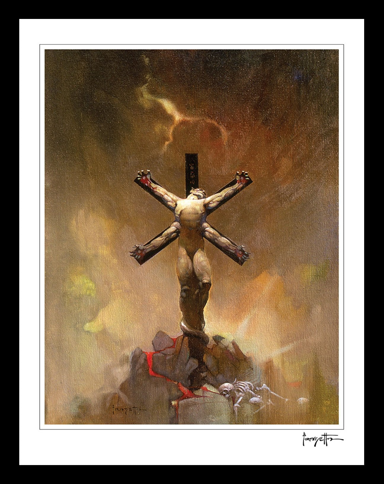 FrazettaGirls Art Print Framed print / Stretched on wooden bar / 18x24 Alien Crucifixion Print